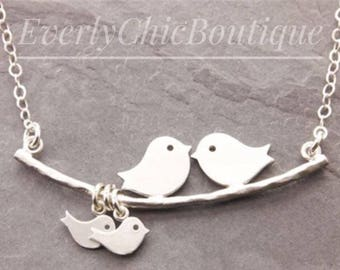 Mommy and me necklace, momma bird and baby bird necklace, grandmother and kids necklace