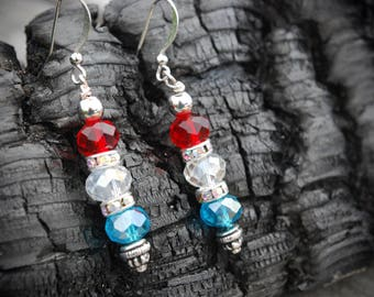 Red white blue crystal earrings, silver accents, rainbow crystal rhinestones, Fourth of July jewelry