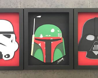 empire trio STAR WARS 3D paper art