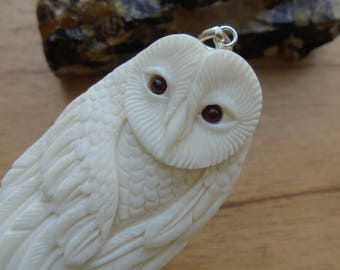 Owl Bone Pendant with Garnet Stone, Bali Bone Carving Jewelry  OWL 20
