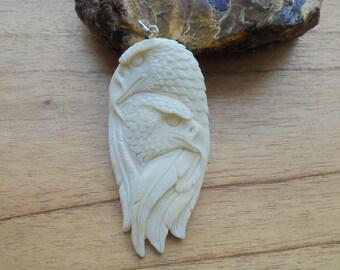 Double Eagle Bone Pendant, Eagle Bone Carving Jewelry EG20