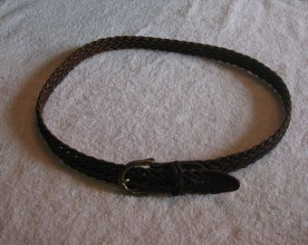 Neatly  Braided Brown  Leather Belt