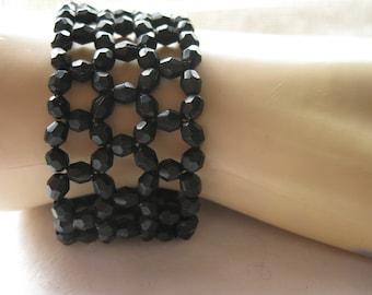 Black Faceted Bead Stretch Bracelet