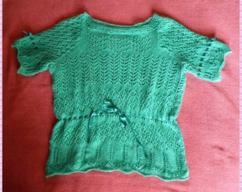 Green Lacy Short Sleeved Knitted Top