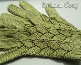 Openwork olive gloves – handknitted elegant gloves – green gloves with fingers – gloves with fingers – cotton gloves – gift for her