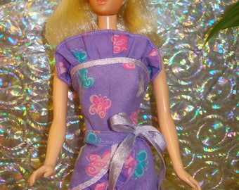 BARBIE DOLL Clothes~OOAK~Handmade~60's Mod~Retro~2 piece Outfit~Butterfly Print~Satin Ribbon ties~Wrap Skirt & Strapless Top~Pink Sandals