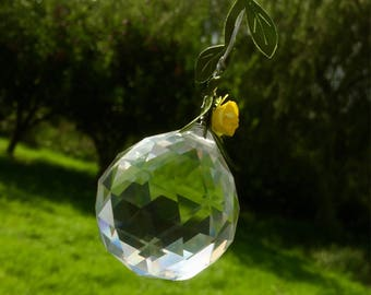 Hanging Crystal Suncatcher- Rose Trail Yellow