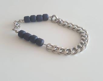 River silver black bracelet