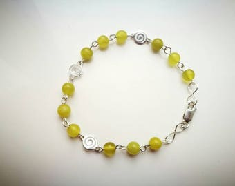 Gorgeous Oliven Jade Serpentine handmade bracelet