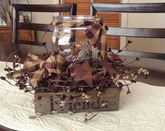 Mason jar country flameless candle arrangement-(Burgundy)