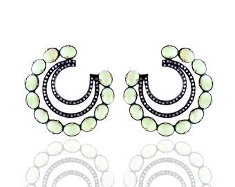 Diamond Earrings with Chrysophrase