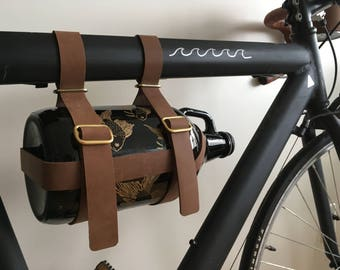 Brown Leather Bike Growler Holder