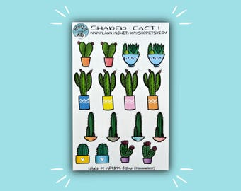 Shaded Cacti   Cactus Planner Sticker   Bullet Journal Stickers   Stickers for Planners & Journals   Journaling Supplies
