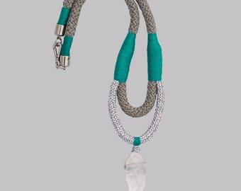 Green /Silver Clear quartz Point Necklace - Egregora