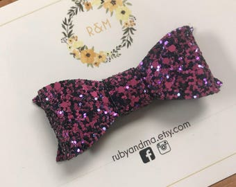 Glitter Bow, Classic Bow, Purple Glitter Bow, Halloween Bow