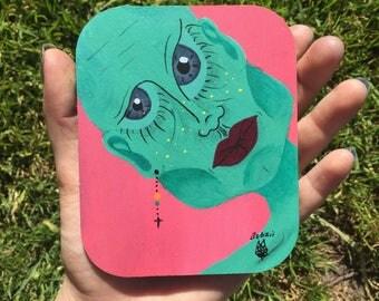 "Title: ""Alien"" original hand painted coaster style design"