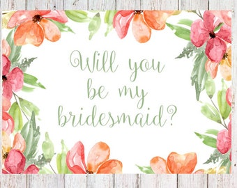 Will you be my bridesmaid? digital download- invitation card (light green)