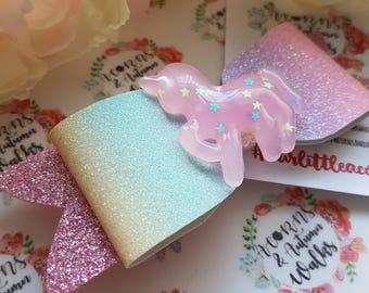 Pastel Rainbow Unicorn bows