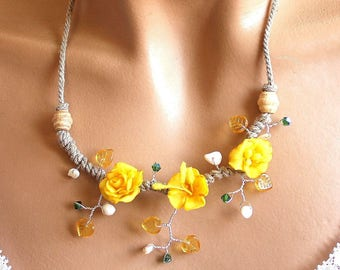 Yellow branch flowers spring necklace.