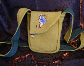 Embroidered shoulder bag with wool butterfly