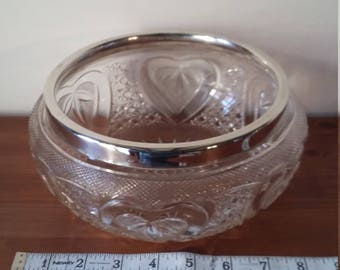 Cut Glass Rose Bowl with Silver Plate Rim
