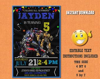 Transformers invitation,Transformers ,Transformers birthday,Transformers invites,PDF editable invitation,Transformers party,Transformers