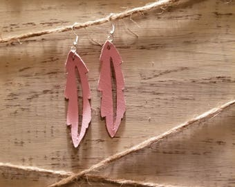 Light Pink Genuine Leather Feather Earrings