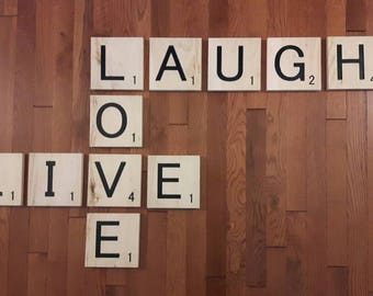 Live, Laugh, Love Giant Scrabble Letters.