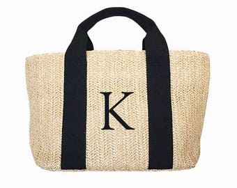 Monogram initial woven shoulder bag