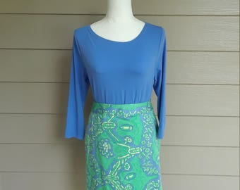 Blue and Green Tibi Skirt