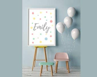 Coral, Mint Green, Yellow and Baby blue personalized name print for nursery or playroom. 8x10 or A4!