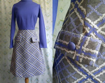 1960s lavender mock turtleneck mod dress