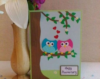 Happy Anniversary handmade card. Cute owls with love in the air! Perfect for that special occasion.