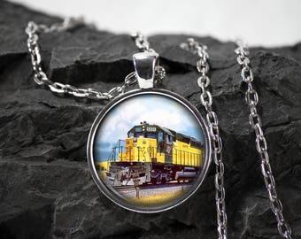 Train Glass Pendant engine necklace locomotive jewelry steam engine gift railroad photo pendant glass bezel pendant photo jewelry glass