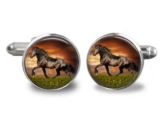 Horse cufflinks western cufflinks animal cufflinks horse lover gift mens cufflinks glass cufflinks silver cufflinks mens cuff links