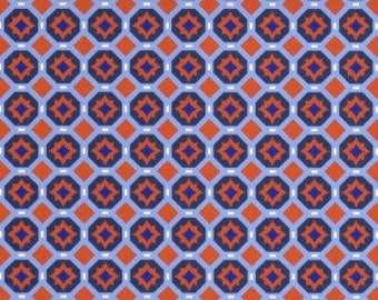 Orange and Navy Geometric Compass Fabric by Fabric Finders - 100% Cotton