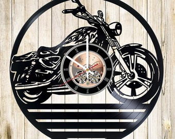 Motorbike Vinyl Record Wall Clock gift idea wall art decor