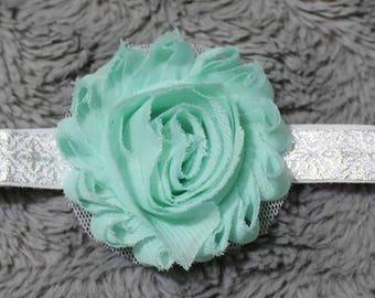 flower on sliver and white elastic headband