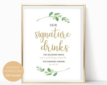 Wedding Signature Drink Cocktail Sign for your Wedding Drinks Printable Bar Menu Drink Sign PDF Instant Download DIY 8x10, 5x7, 4x6 Jasmine