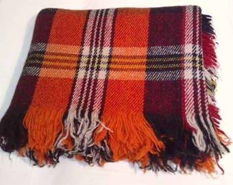 NEW Extra Quality Organic Wool Rhodopa Tartan Plaid Blanket Throw/ Large, 3000 gr. Heavy Warm Orange Blanket / Scottish Tartan Sofa Cover