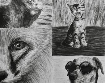 "Assorted Charcoal Notecard Set of 20 - 5.5""x4"""