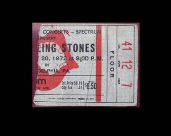 Rolling Stones 1972 Exile On Main Street Tour Full 3/4 Concert Ticket