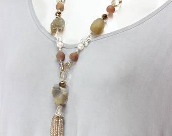 Hazel Agate and Czech  Crystal Necklace