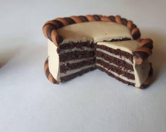 Polymer clay chocolate cake