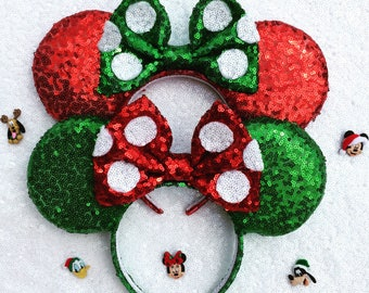 Christmas Minnie Mouse Mickey Mouse Ears headband ,Red Polka Dot Minnie Ears - Minnie Mouse Headband - Christmas Mickey Ears