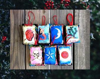 CHOOSE 1: Loteria Card Mexican Bingo Fabric Pillow Ornament Holiday Christmas