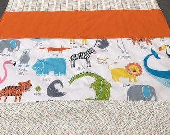 Scion Guess Who Animal Magic quilted blanket, patworkwork throw, single duvet, sloth, lion, Mr Fox