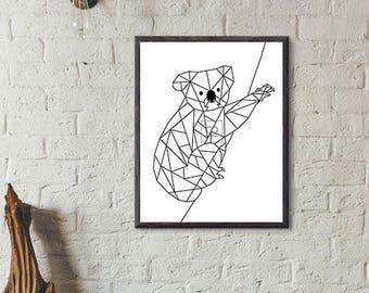 Geometric koala printed canvas (black/white)