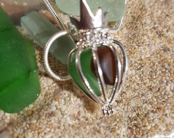Crown Beach Glass Pendant