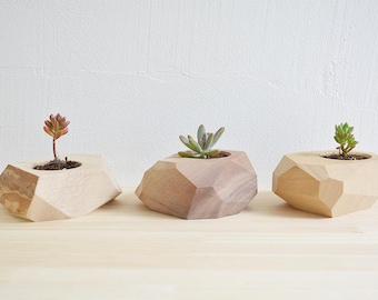 Air plant holder - 3 Set - Wood Planter - Geometric Planter - Mini planters - Cactus Planter - Indoor Planter - Succulent Planter Gifts